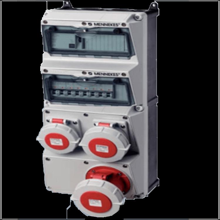 Bộ liên hợp ổ cắm công nghiệp 2x(CEE 16A-3P-230V-IP67) +1x(CEE 32A-5P-400V-IP67)