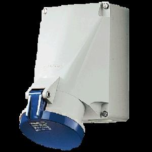 Ổ cắm công nghiệp gắn tường 63A-3P-230V-6H-IP44