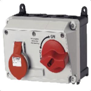 Ổ cắm công nghiệp có công tắc 16A-4P-400V-6H-IP44