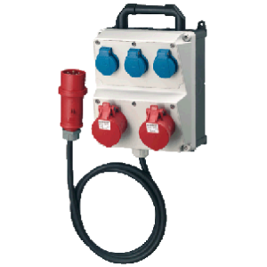 Bộ liên hợp ổ cắm công nghiệp 2x(CEE 16A-5P-400V-IP44) +3x(SCHUKO 16A-230V-IP44)+1x(Plug CEE 16A-5P-400V-IP44)