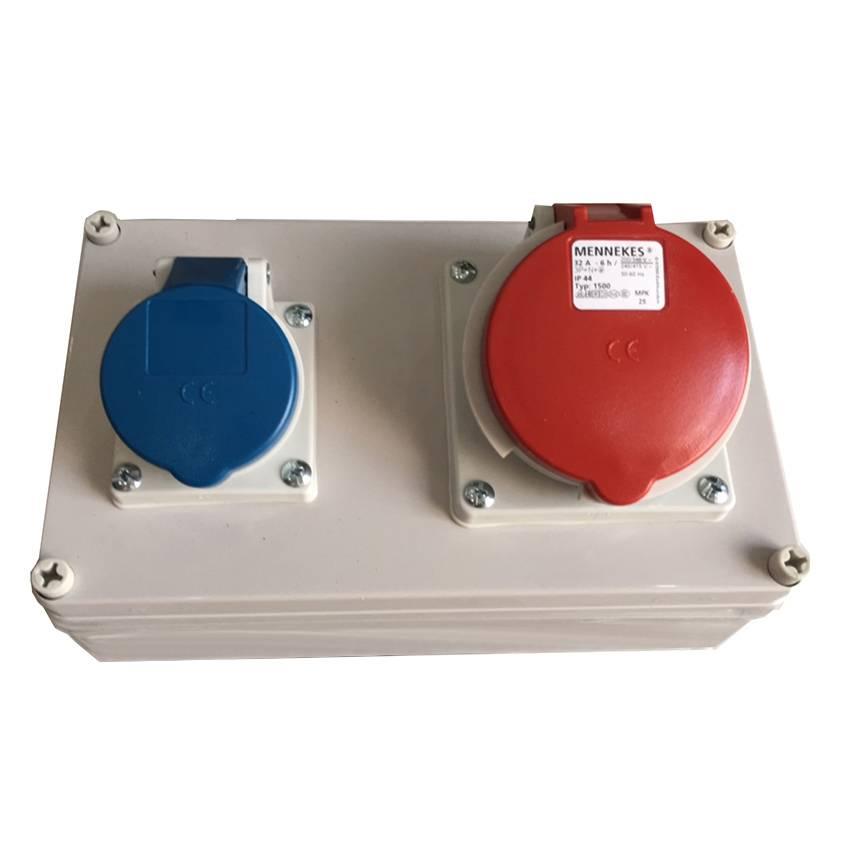 Ổ CẮM CÔNG NGHIỆP HỢP BỘ 1X(CEE 16A-3P-230V-IP44) +1X(CEE 32A-5P-400V-IP44) – Lắp ráp