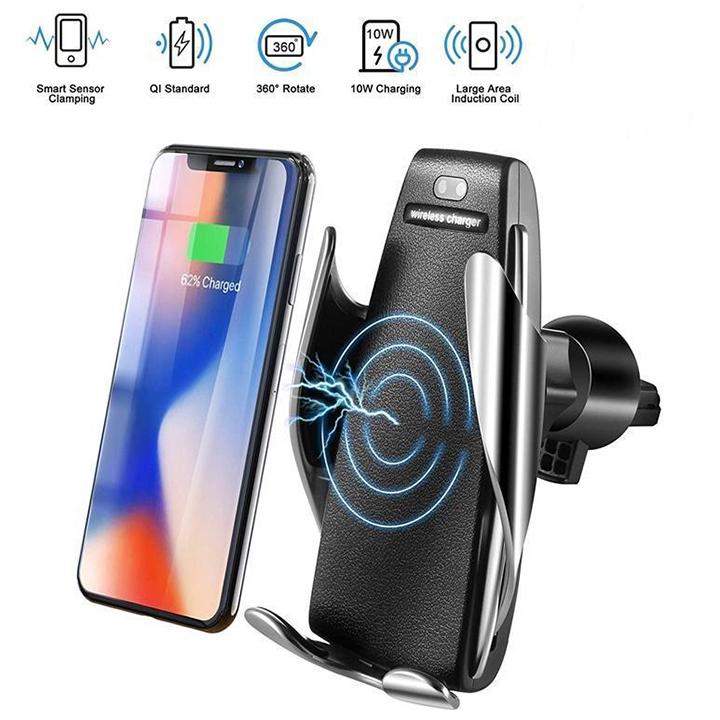 Kẹp điện thoại xe hơi cảm biến thông minh xoay 360° kiêm sạc không dây S5