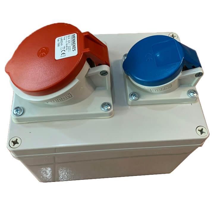 Bộ liên hợp ổ cắm công nghiệp 1x(CEE 16A-3P-230V-IP44) +1x(CEE 32A-5P-400V-IP44)