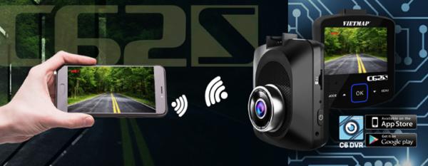 Camera Hành Trình Trước Sau Cảnh Báo Thông Tin Giao Thông phát WiFi truyền dữ liệu qua Smartphone VietMap C62S